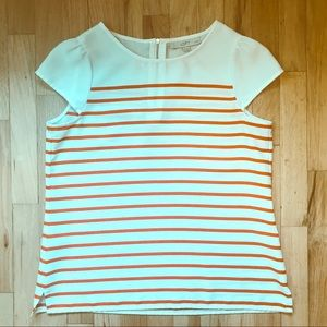 LOFT petite coral striped sleeveless shell